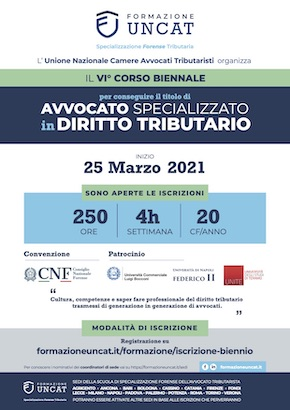 Locandina VI° corso biennale UNCAT 2021