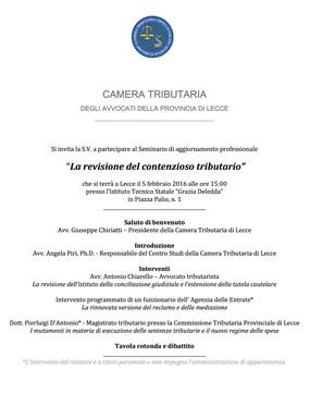 Evento: REVISIONE DEL CONTENZIOSO TRIBUTARIO (5 febbraio 2016)
