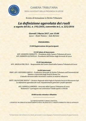Evento: LA DEFINIZIONE AGEVOLATA DEI RUOLI (2 marzo 2017)