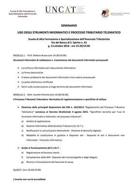 Evento: PROCESSO TRIBUTARIO TELEMATICO (13 ottobre 2016)