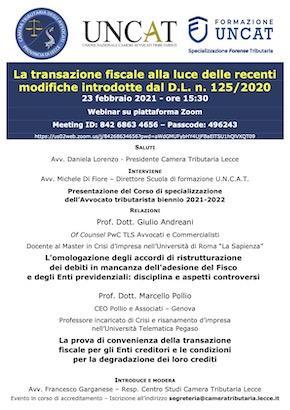 Locandina Webinar UNCAT 23 febbraio 2021