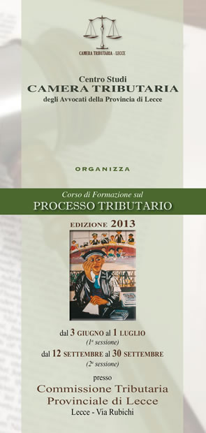 Locandina Corso di Formazione sul Processo tributario 2013
